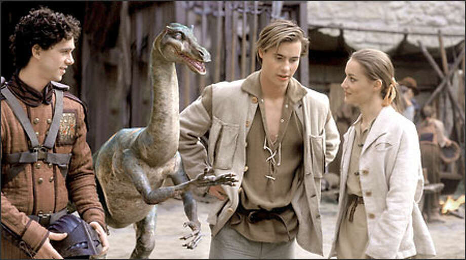 "Shiloh Strong, left, Zipeau, Erik Von Detten and Georgina Rylance star in the new ""Dinotopia"" series, which is based on an ABC miniseries that ran earlier this year. Aside from the techno-wizardry, however, it's not very engaging. Photo: ABC/Hallmark / ABC/Hallmark"