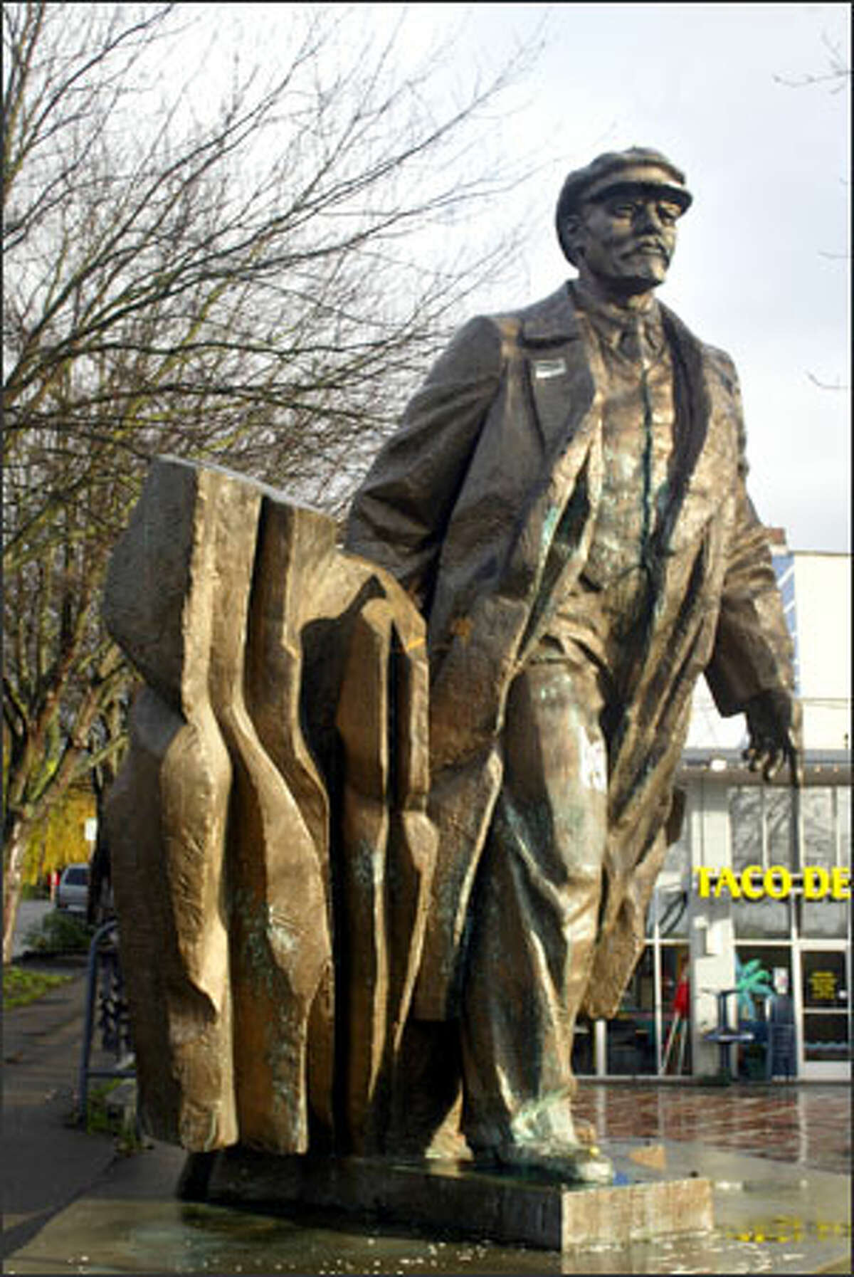 The statue of Vladimir Lenin in Fremont prior to its holiday lighting during a ceremony on Dec. 3, 2004.
