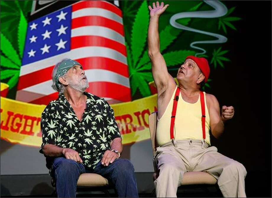 "Tommy Chong, left, and Cheech Marin are touring together again. Chong said he ""played the hippie, and (Marin) played the Chicano."" Photo: Getty Images / Getty Images"