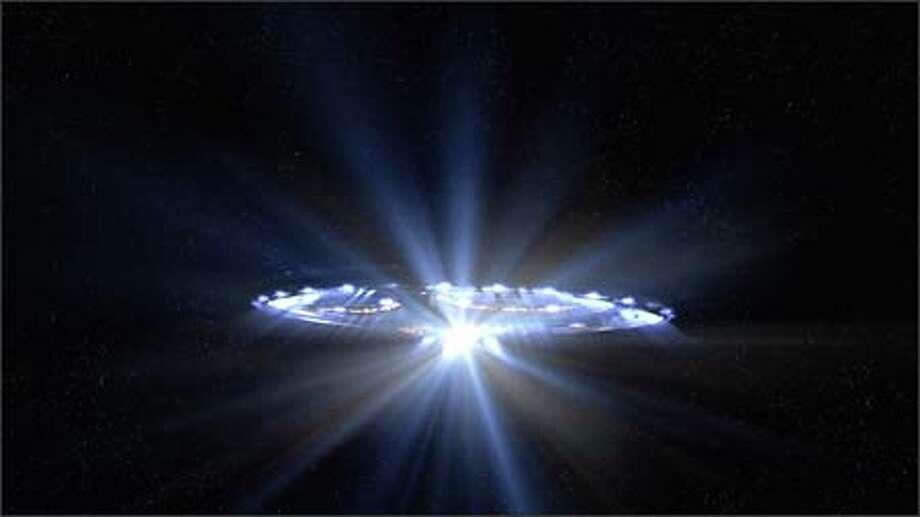 An alien ship in the night sky.