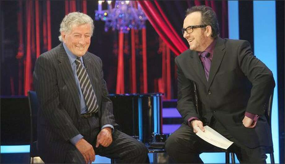 """Singers like Tony Bennett, left, will discuss their history and influences with Elvis Costello on his new """"Spectacle"""" show."""