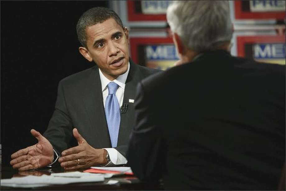 "President-elect Barack Obama appears during a taping of ""Meet the Press'"" with Tom Brokaw on Saturday in Chicago. The interview was broadcast on Sunday. (AP Photo/Meet The Press, Alex Wong) Photo: Associated Press / Associated Press"
