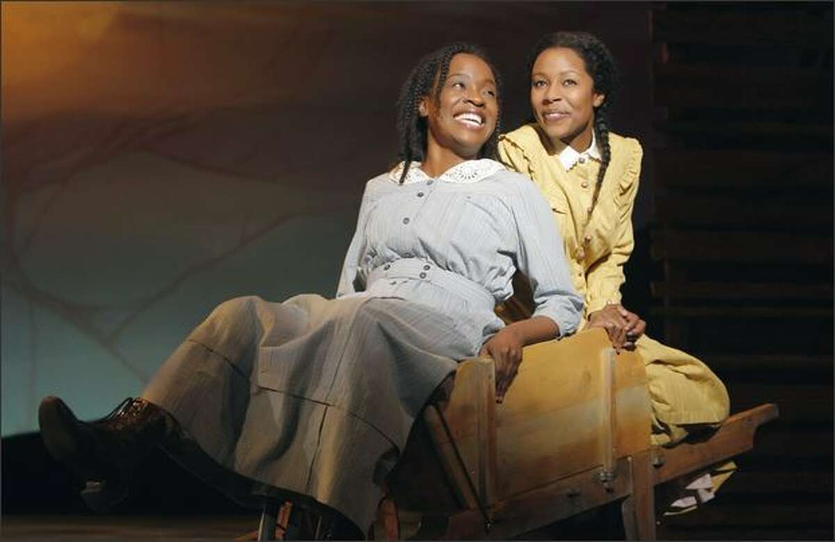 """Producer Scott Sanders saw Celie (Jeannette Bayardelle, right, with LaToya London as Nettie, far right) as """"a great person to be the protagonist for a musical."""""""