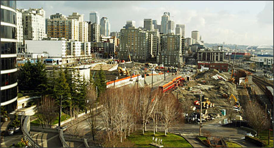 Work continues on Seattle Art Museum's Olympic Sculpture Garden, set to open in 2006 on 8.5 acres of Seattle waterfront. Photo: Paul Joseph Brown, Seattle Post-Intelligencer / Seattle Post-Intelligencer