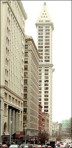 Although brokers are struggling to find tenants, the Smith Tower, with its mosaic floors and brass elevator cabs, still has a certain mystique about it. And it's completely wired for high tech. Photo: Phil H. Webber, Seattle Post-Intelligencer / Seattle Post-Intelligencer