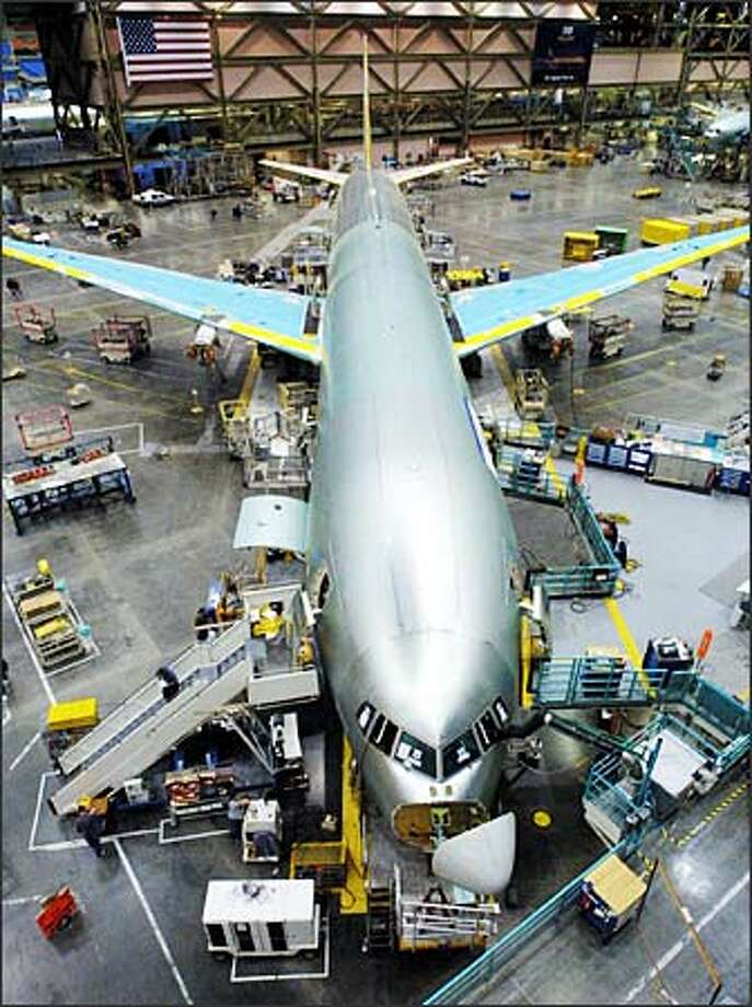 This 777-300ER, which will be rolled out next month in Everett, will be Boeing's flight test aircraft. Photo: Phil H. Webber, Seattle Post-Intelligencer / Seattle Post-Intelligencer
