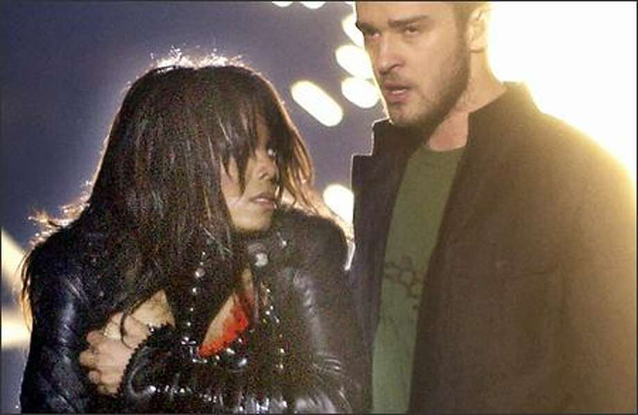 The No. 1 moment in 2004 television history starred Janet Jackson, one exposed breast and Justin Timberlake. Photo: Associated Press / Associated Press
