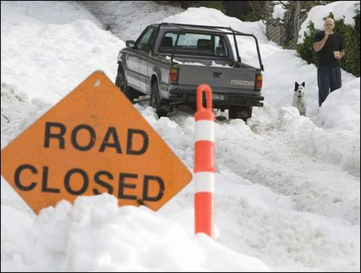 Recent snowstorms in British Columbia's Lower Mainland made some roads unnavigable, such as this one in North Vancouver.