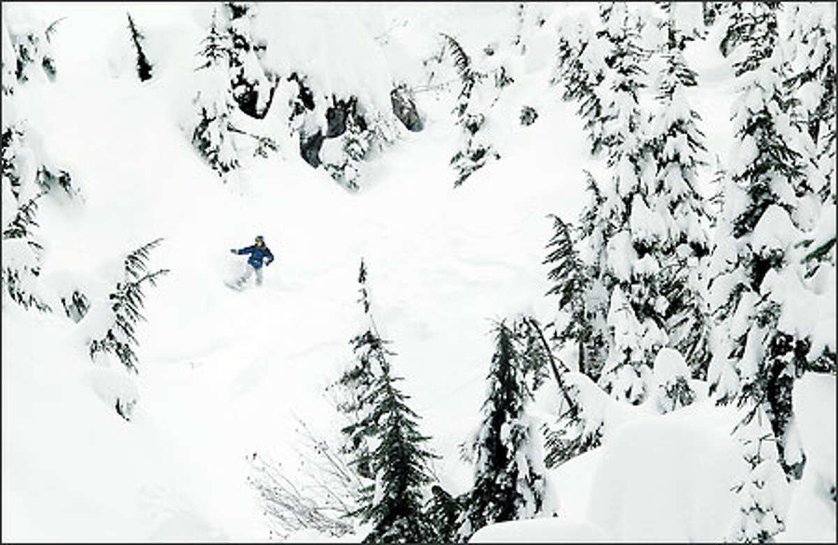 A snowboarder makes his own route in the backcountry near Alpental ski resort in Snoqualmie Pass yesterday. More snow is expected from the storm that's moving through the region.