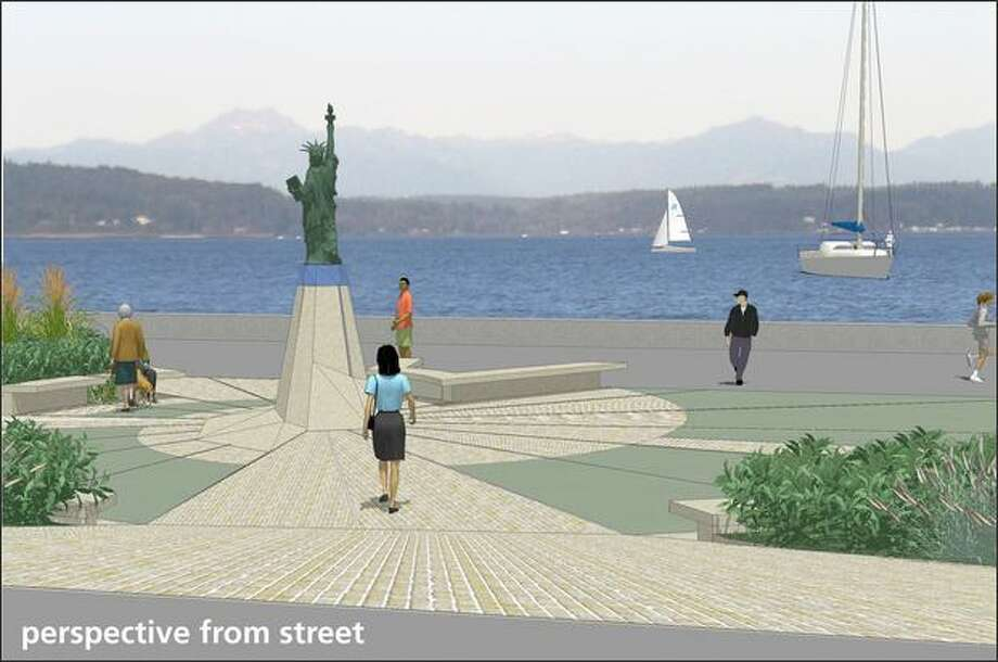 Residents near Alki Beach hope to give Liberty the new plaza and pedestal shown in this rendering. (Courtesy ofCast Architecture and eWorkshop Design)