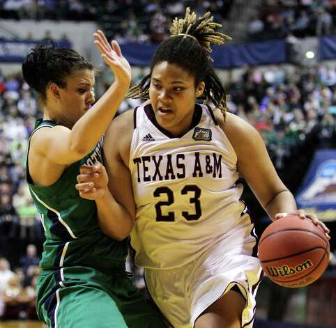 Texas A&M's Danielle Adams (23) drives against Notre Dame's Becca Bruszewski  in the first half of the women's NCAA Final Four college basketball championship game in Indianapolis, Tuesday, April 5, 2011. Photo: AP