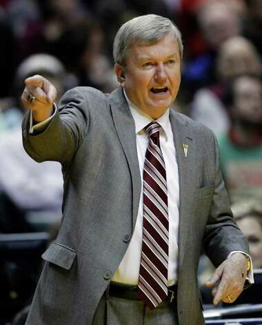 Texas A&M head coach Gary Blair yells to his team in the first half of the women's NCAA Final Four college basketball championship game against Notre Dame in Indianapolis, Tuesday, April 5, 2011. Photo: AP