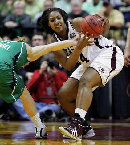 Notre Dame's Natalie Novosel, left, tries to knock the ball from the hands of Texas A&M's Karla Gilbert in the second half of the women's NCAA Final Four college basketball championship game in Indianapolis, Tuesday, April 5, 2011. Photo: AP