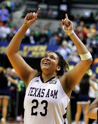 Texas A&M's Danielle Adams celebrates after Texas A&M's 76-70 win over Notre Dame in the women's NCAA basketball championship game in Indianapolis, Tuesday, April 5, 2011. Photo: AP
