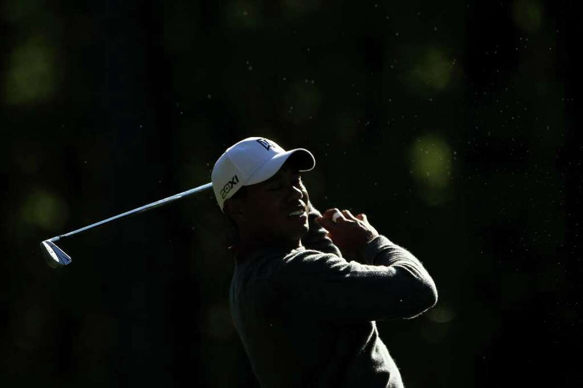 AUGUSTA, GA - APRIL 06: Tiger Woods hits a shot during a practice round prior to the 2011 Masters Tournament at Augusta National Golf Club on April 6, 2011 in Augusta, Georgia. (Photo by Jamie Squire/Getty Images) *** Local Caption *** Tiger Woods