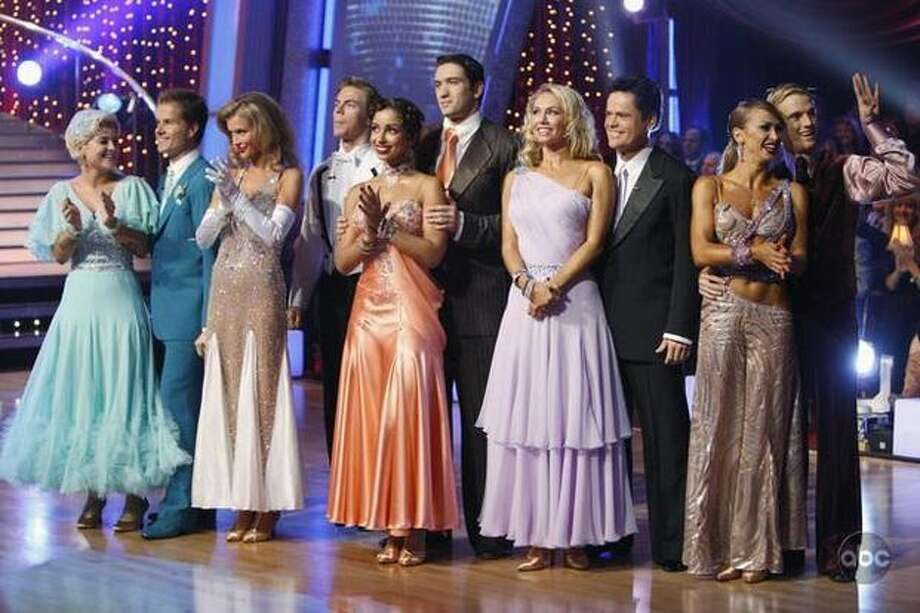 "For the first time this season on the ABC hit series ""Dancing with the Stars,"" each of the remaining couples danced two complete individual routines -- one for the ballroom round and another for the Latin round. In addition, each of the Latin dances was based in a specific decade. Here, the couples gathered for Monday's performance show. Photo: ABC"