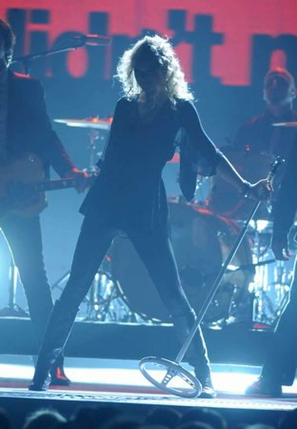 Musician Taylor Swift performs onstage.