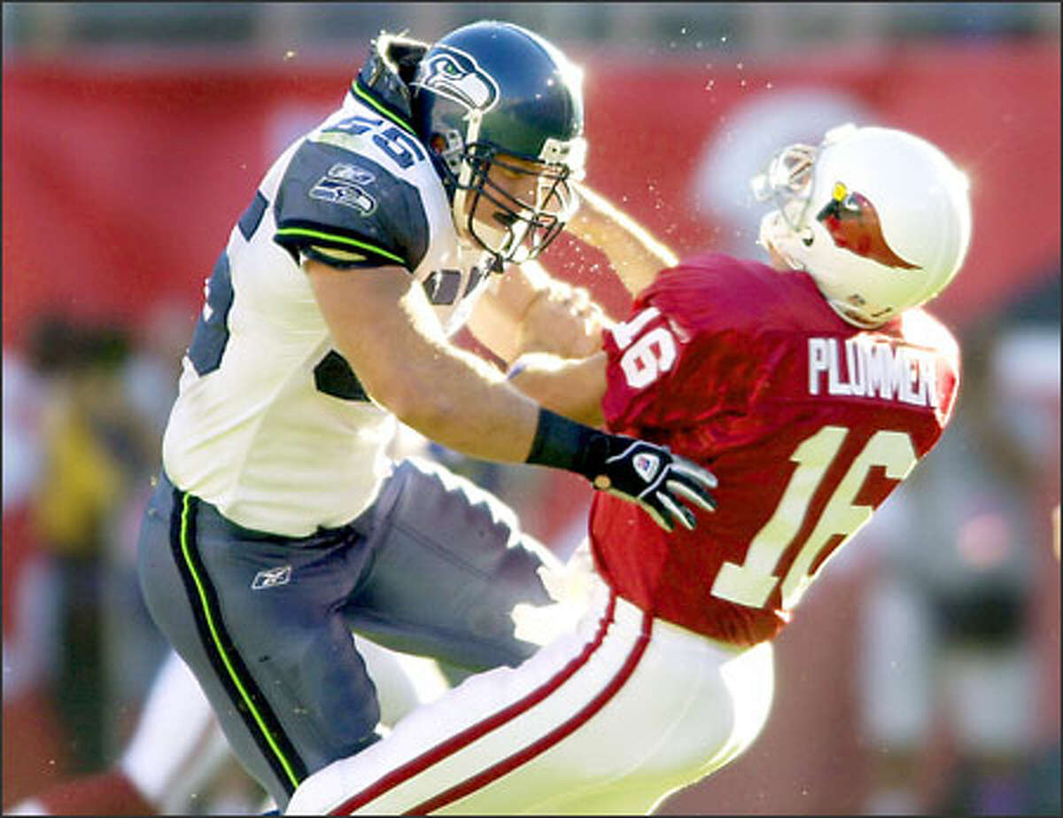 Seahawks defensive tackle Chad Eaton levels Cardinals quarterback Jake Plummer. Seattle's defense was not credited with a sack, but held Plummer to 226 yards and picked him off four times.