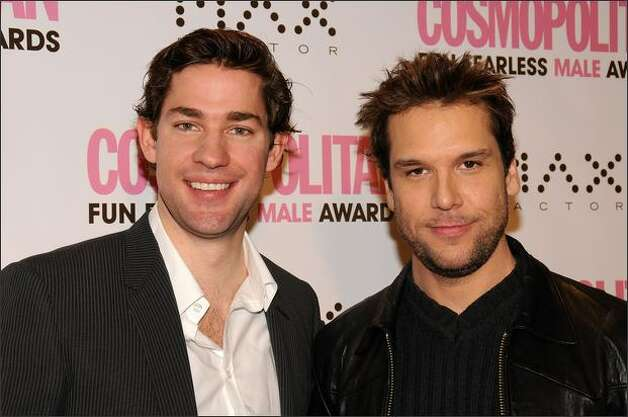Actors John Krasinski (L) and Dane Cook arrive at the Cosmopolitan honors John Mayer as fun fearless male of the year event at Cipriani in New York City. Photo: Getty Images