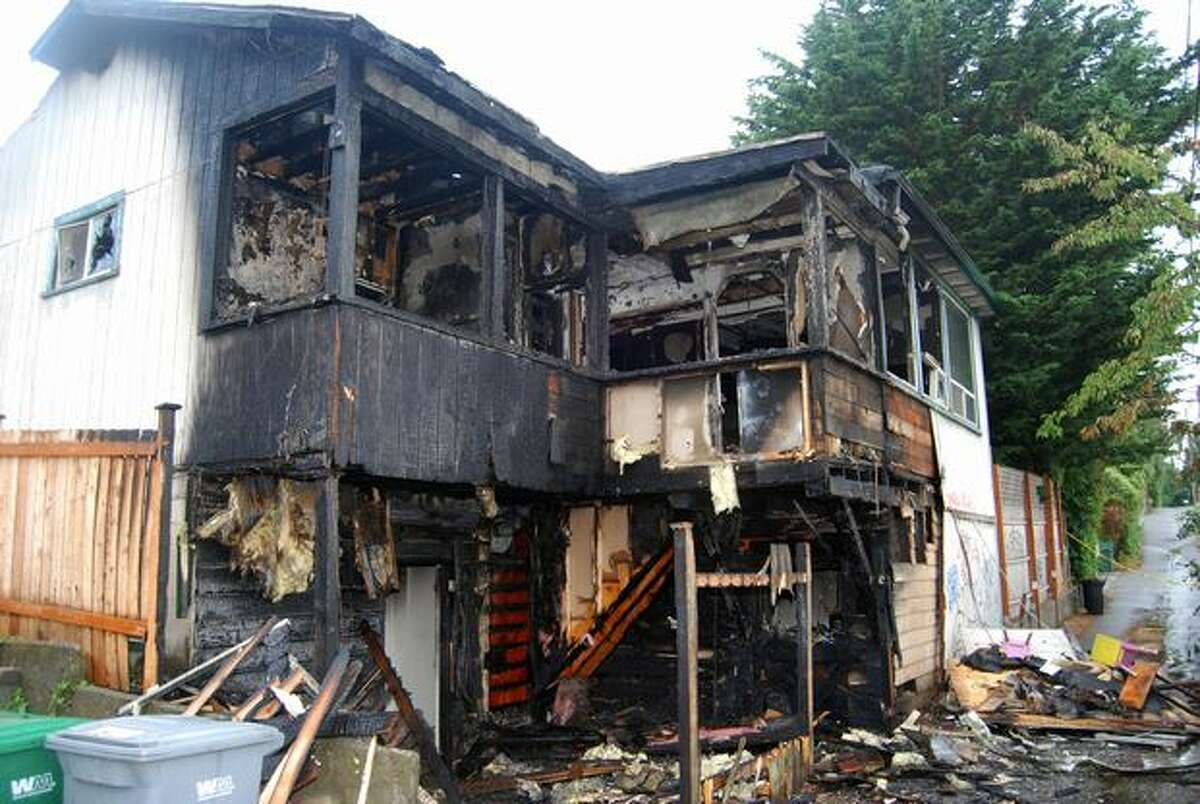 A Seattle police photo showing the damage from a fire at a residence on 100 block Northwest 84th Street. (Seattle Police Department Photo)