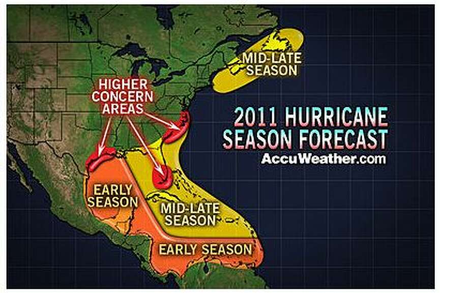AccuWeather.com is predicting an active Atlantic hurricane season this year. The weather service is calling for 15 named storms and said Texas coastal residents could face hurricane threats much earlier in the season this year.  Graphic: AccuWeather.com Photo: Ricki