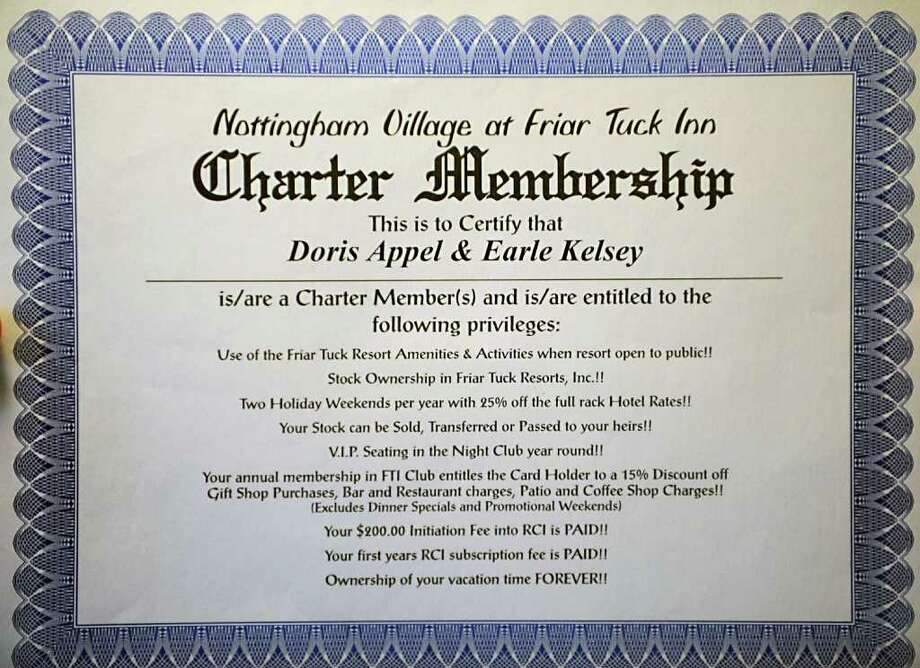 Doris Appel and Earle Kelsey's Nottingham Village timeshare charter membership certificate in North Chatham, N.Y. Tuesday, April 5, 2011. (Lori Van Buren / Times Union) Photo: Lori Van Buren