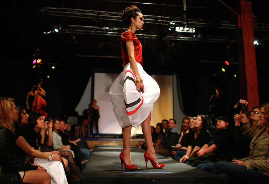 A design by Christina Yi of Columbia College in Chicago is shown during the Comcast Student Fashion Designer Competition at Club Sur in Seattle's Sodo neighborhood on Wednesday, April 6, 2011. The student design competition is part of the upcoming Seattle Fashion Week to be held in May. Photo: Joshua Trujillo / Seattlepi.com
