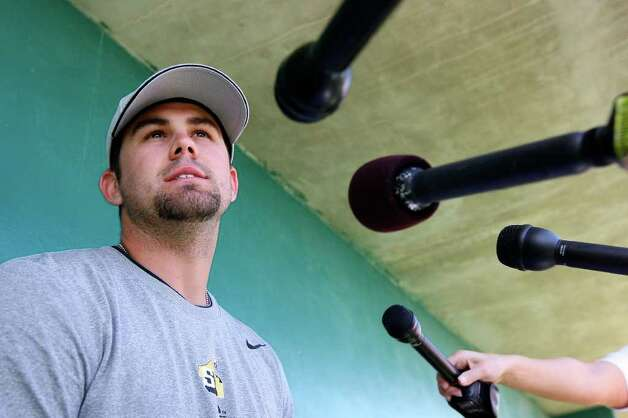 Missions pitcher Casey Kelly answers questions during media day on Monday, April 4, 2011 at Wolff Stadium. Kelly was one of four Missions pitchers and eight Missions players selected for the 75th Texas League All-Star Game. Edward A. Ornelas/eaornelas@express-news.net Photo: EDWARD A. ORNELAS, Edward A. Ornelas/eaornelas@express-news.net / SAN ANTONIO EXPRESS-NEWS NFS