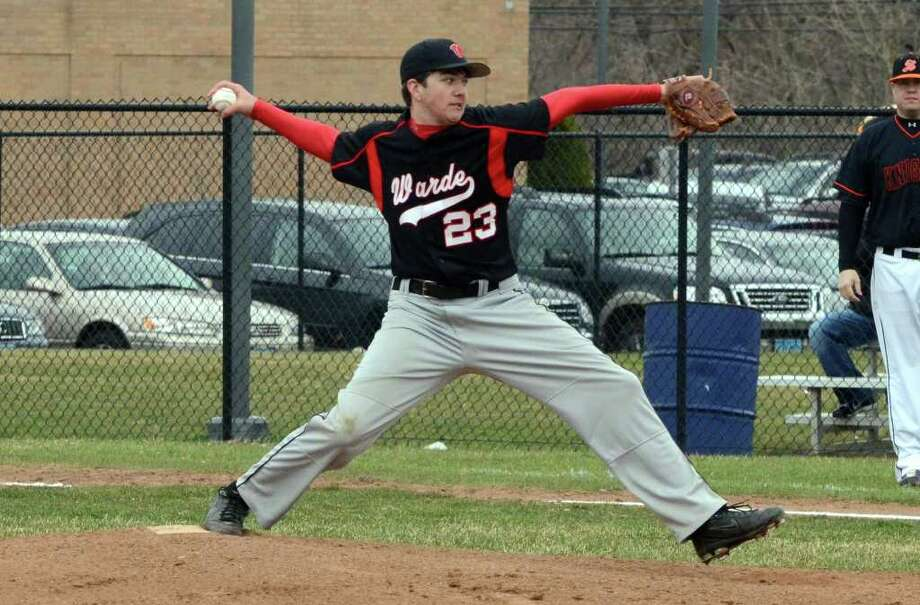 Fairfield Warde's Shane Goven (23) pitches during the baseball season opener against Stamford at Warde on Wednesday, Apr. 6, 2011. Photo: Amy Mortensen / Connecticut Post Freelance