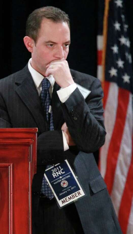 FILE – Reince Priebus pauses as he conducts committee business after he was elected to be the new chairman of the National Republican Committee during the RNC Winter Meeting January 14, 2011. Photo: Alex Wong, Getty Images / 2011 Getty Images