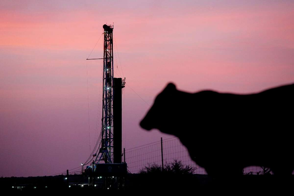 In this 2010 Express-News file photo, the Patterson-UTI Drilling Co. rig can be seen alongside Ranch Road 624 just southeast of Cotulla.
