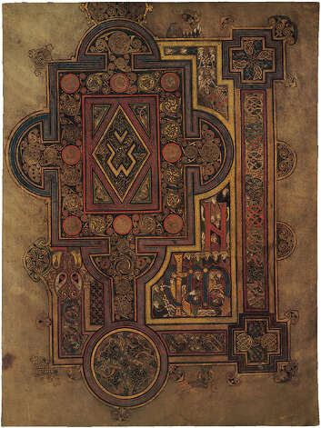A page from the Book of Kells facsimile on view April 18-May 24 at Fairfield University's Bellarmine Museum of Art in an exhibit on Irish Medieval art. Photo: Contributed Photo / Connecticut Post Contributed