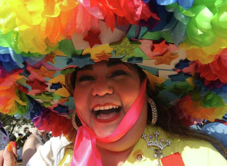 Minu Martinez displays her Fiesta hat during the Fiesta San Antonio 2011 opening ceremony in Alam