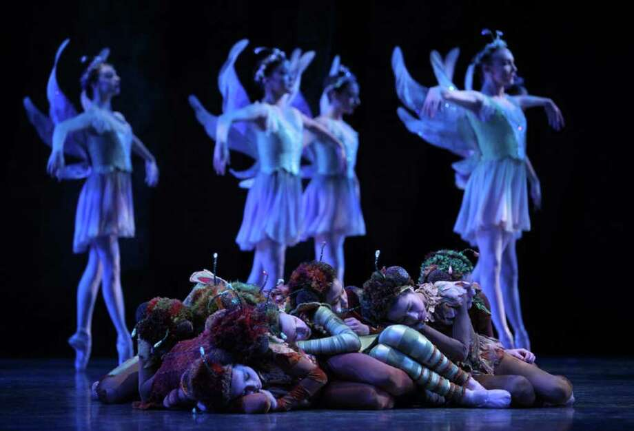 "Pacific Northwest Ballet company dancers and PNB School students perform during a dress rehearsal for George Balanchine's ""A Midsummer Night's Dream"" on Thursday, April 7, 2011 at McCaw Hall in Seattle. The ballet is based on Shakespeare's theater piece. Performances of the ballet begins on Friday, April 8th and run through April 17th at McCaw Hall. Photo: Joshua Trujillo / Seattlepi.com"
