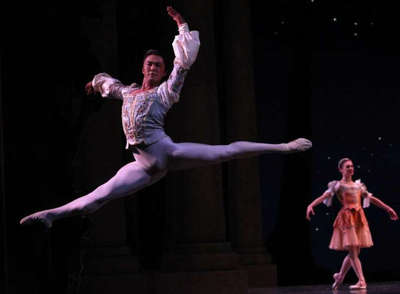 Pacific Northwest Ballet principal dancer Batkhurel Bold performs during a dress rehear