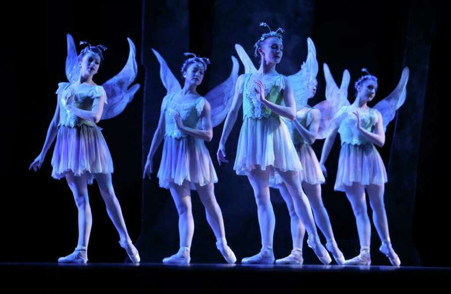 Pacific Northwest Ballet company dancers perform during a dress rehearsal for George Balanchine's