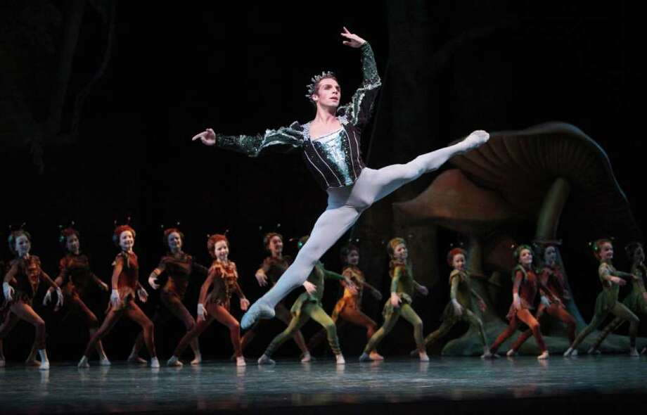 Pacific Northwest Ballet principal dancer Lucien Postlewaite (as Oberon) and PNB 