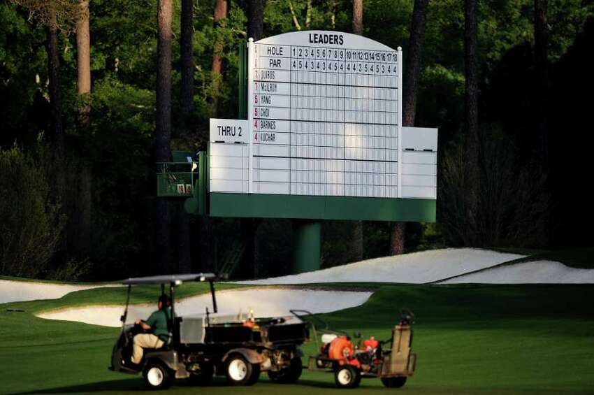 AUGUSTA, GA - APRIL 08: A leaderboard is seen on the third hole during the second round of the 2011 Masters Tournament at Augusta National Golf Club on April 8, 2011 in Augusta, Georgia. (Photo by Harry How/Getty Images)