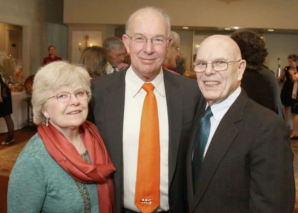 Albany, NY - March 26, 2011 - (Photo by Joe Putrock/Special to the Times Union) - Event chairperson Dr. Keith Edwards, MD(center) poses with Patricia(left) and Henry(right) Binzer during A Festive MS Gala presented by the Upstate NY Chapter of the National Multiple Sclerosis Society and the MS Resource of the Tristate Area to support multiple sclerosis education and research.