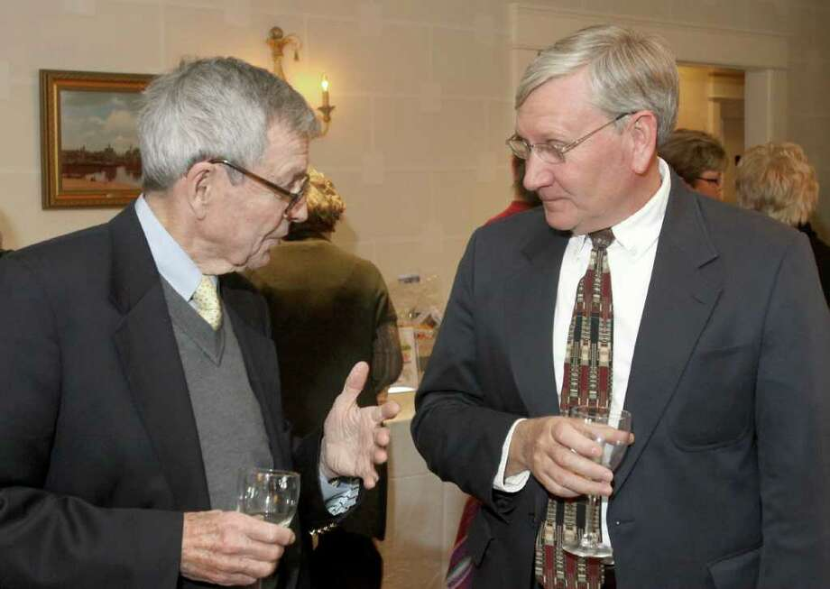 Albany, NY - March 26, 2011 - (Photo by Joe Putrock/Special to the Times Union) - John Sprague(left) talks with David Carver(right) during A Festive MS Gala presented by the Upstate NY Chapter of the National Multiple Sclerosis Society and the MS Resource of the Tristate Area to support multiple sclerosis education and research. Photo: Joe Putrock / Joe Putrock