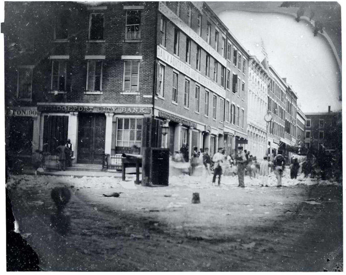 The riot at the office of the Bridgeport Advertiser and Farmer, a pro-Confederate