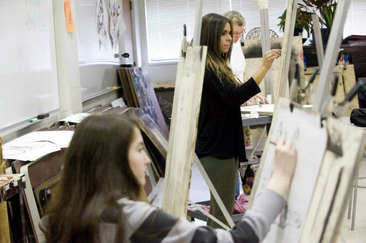 Students participate in the Draw-A-Thon at Norwalk Community College in Norwalk, Conn. on Friday April 8, 2011.