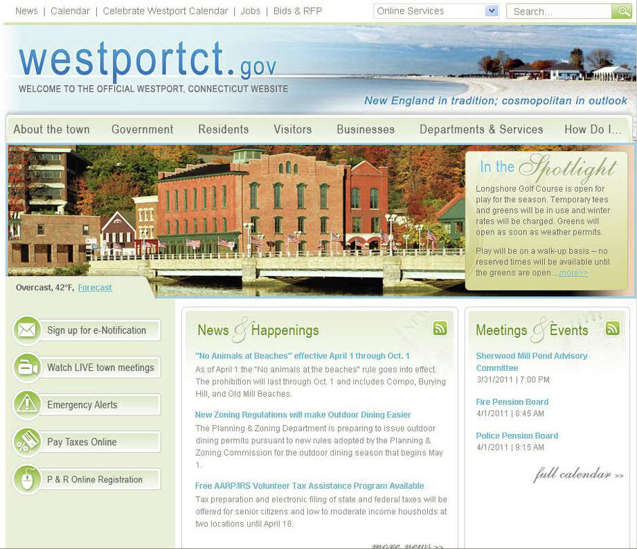 """Pictured is the homepage of the revamped Town of Westport website - WestportCT.gov. The new look made its debut on Friday, March 25. The homepage features a number of revolving images of Westport locales and pop up menus appear when the cursor is placed on the main tabs, such as """"About the town,"""" """"Government"""" and """"Departments & services,"""" which makes the site even more user-friendly than it had been. Photo: Contributed Photo / Westport News"""