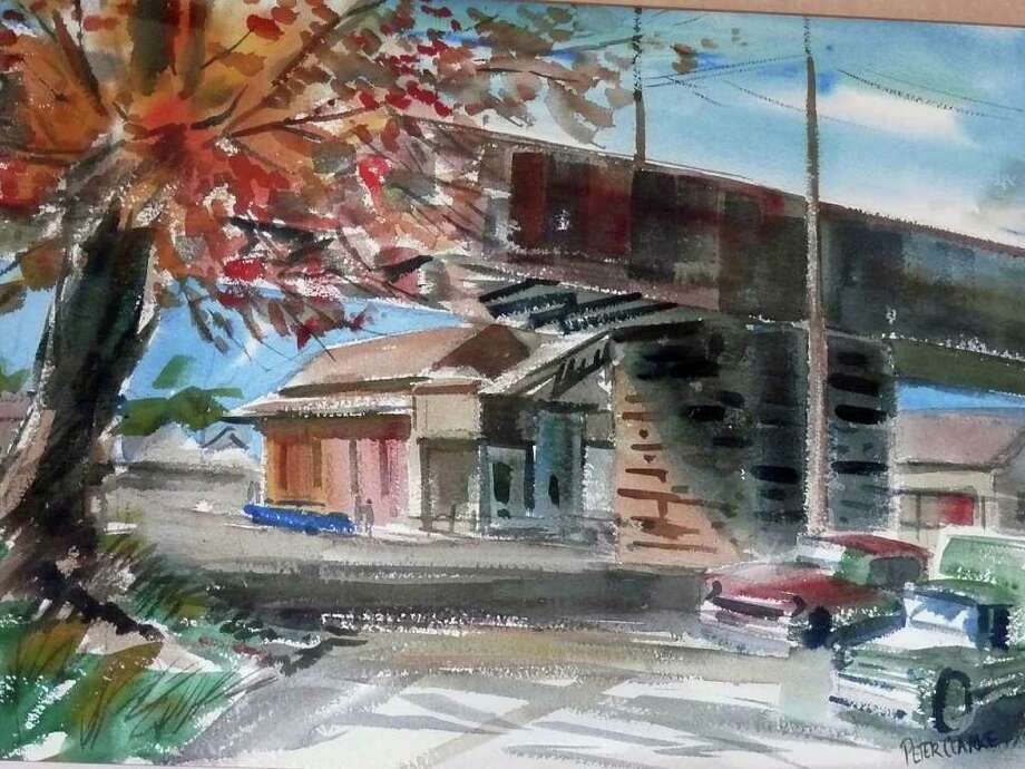 A watercolor rendering of the eastbound train depot was recently donated to the Parking Authority and now hangs in the waiting room. Photo: Genevieve Reilly / Fairfield Citizen