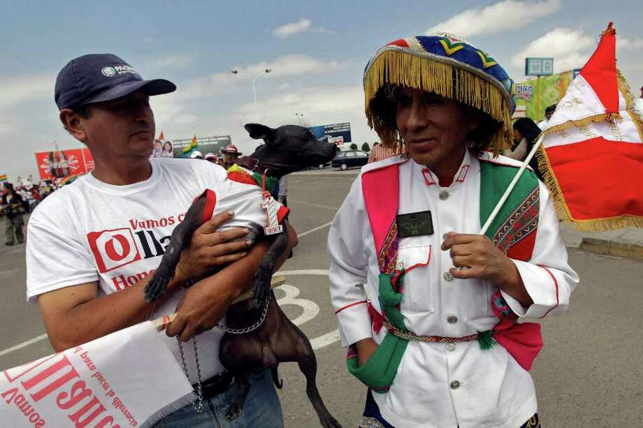 Supporters of Presidential candidate Ollanta Humala, of the political party Peru Wins, one holding a dog, wait for his arrival before a campaign rally in Arequipa, Peru, Thursday, April 7, 2011. Peru's general elections are scheduled for April 10, 2011. Photo: AP
