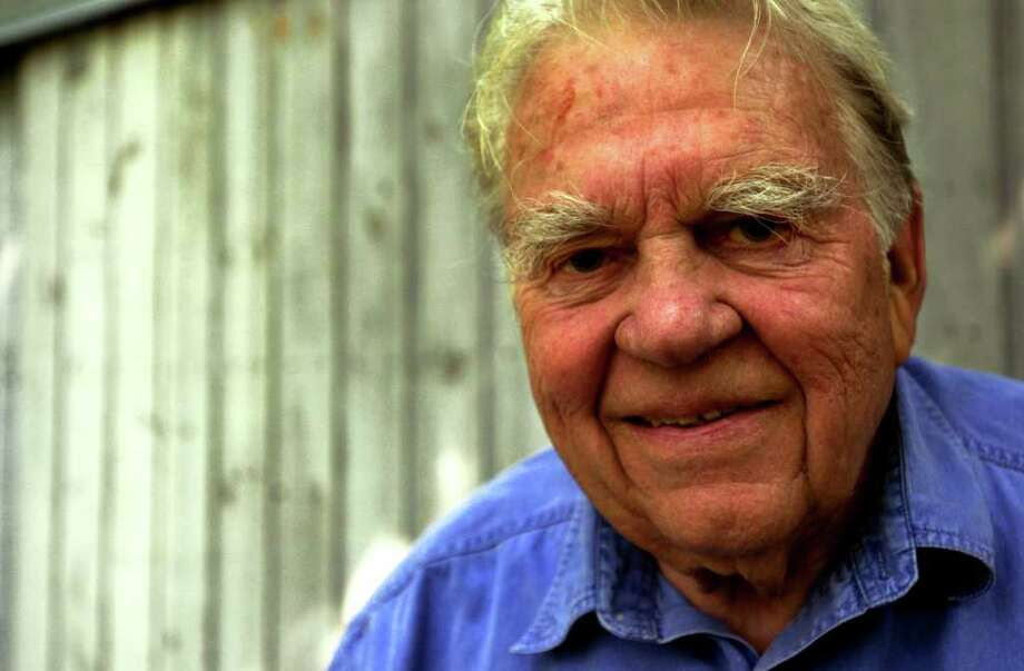 Andy Rooney  in August 2001 in front of his woodshop at his home in Rensselaerville, N.Y. (Cindy Schultz/Times Union archive) Photo: CINDY SCHULTZ / ALBANY TIMES UNION