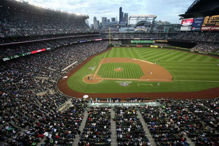 Safeco Field is shown during the first pitch of the Seattle Mariners home opener against the Cleveland Indians on Friday, April 8, 2011 at Safeco Field in Seattle. (Joshua Trujillo, Seattlepi.com). Photo: JOSHUA TRUJILLO / SEATTLEPI.COM