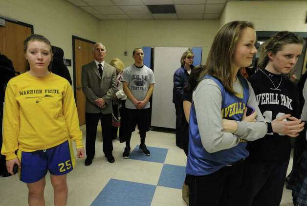 Averill Park High School student athletes listen during a school board meeting in Averill Park, NY Tuesday April 5, 2011. High School sports faces an uncertain  future as hard times hit school districts. ( Michael P. Farrell/Times Union ) Photo: Michael P. Farrell