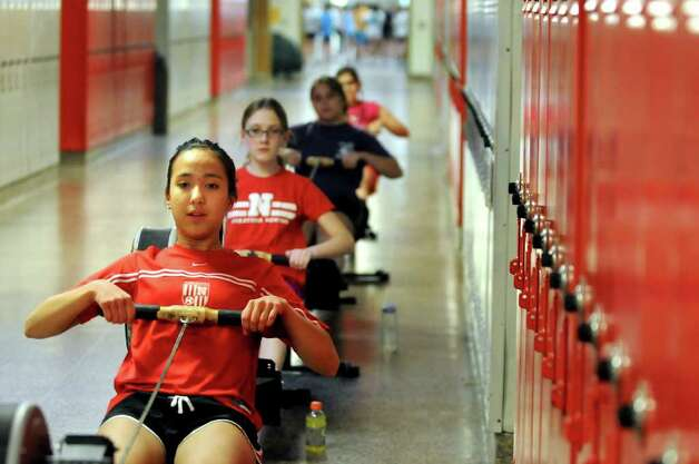 Sydney Lemelin, 13, front, works out with the modified rowing team on Wednesday, April 6, 2011, at Niskayuna High in Niskayuna, N.Y. (Cindy Schultz / Times Union) Photo: Cindy Schultz