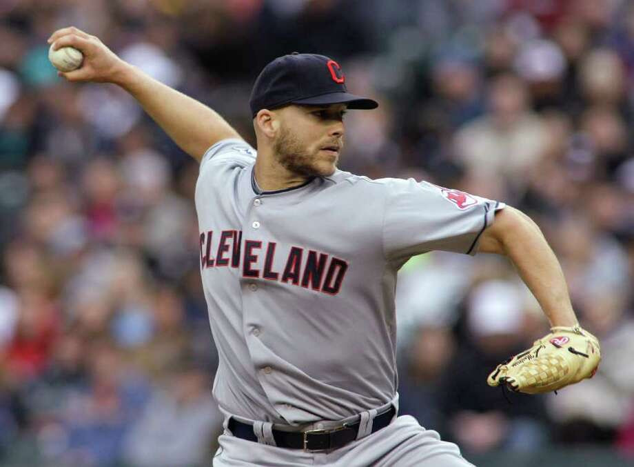 Cleveland Indians starting pitcher Justin Masterson throws against the Seattle Mariners in the first inning of a baseball game, Saturday, April 9, 2011, in Seattle. Photo: AP